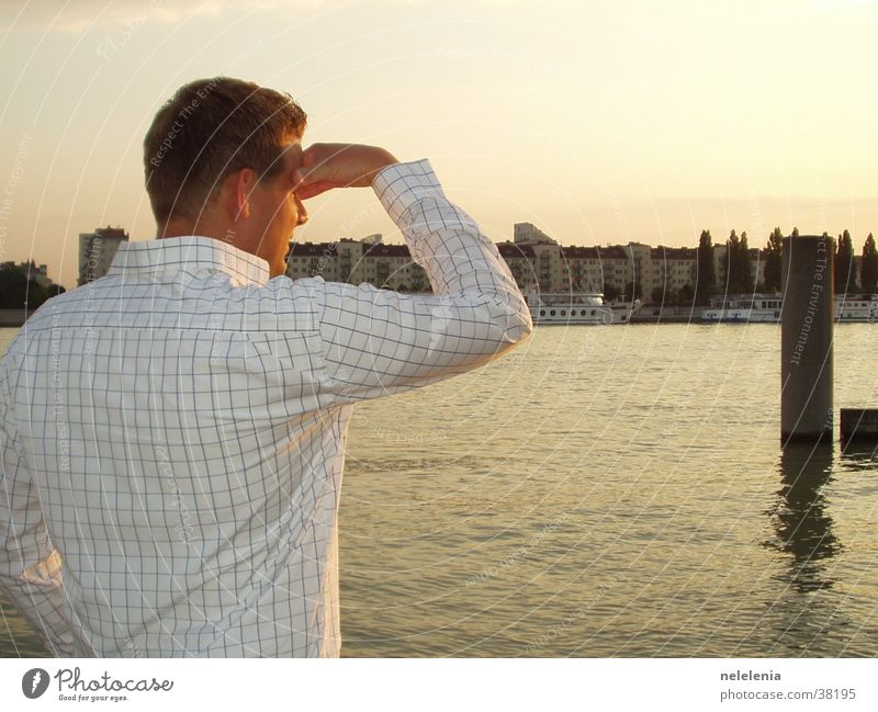 View of Vienna Young man Danube Island Sunset Town Man Romance Austria Twilight Shirt Captain Vacation & Travel House (Residential Structure) City trip