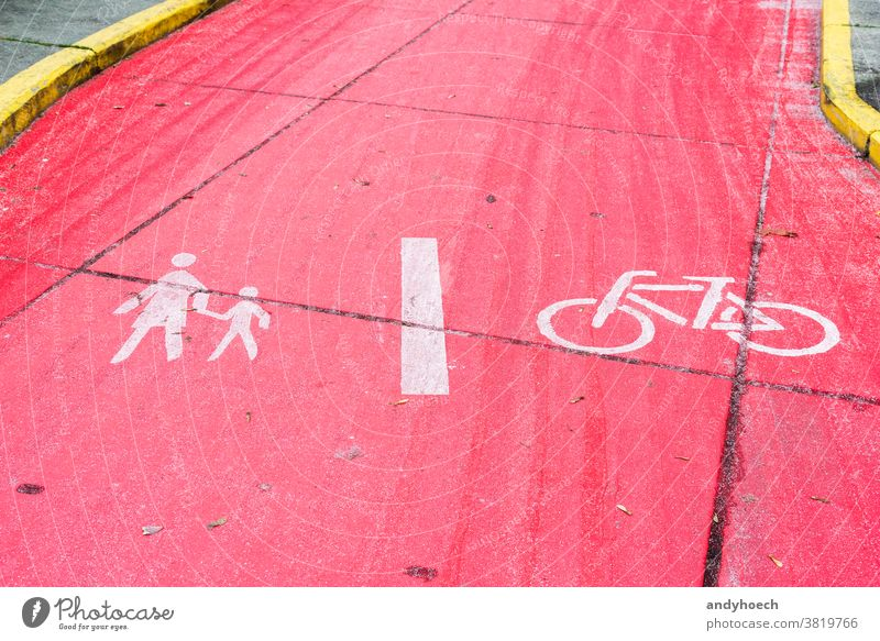 Footpath and bike path divided by a white line asphalt attention bicycle Bike biking circle city dividing dividing line europe foot path footpath healthy icon