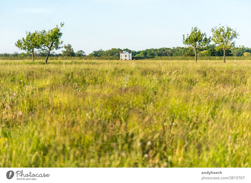 Single white villa on the edge of a dike architecture Background beautiful borders building cloudless colorful countryside county dam destination dyke