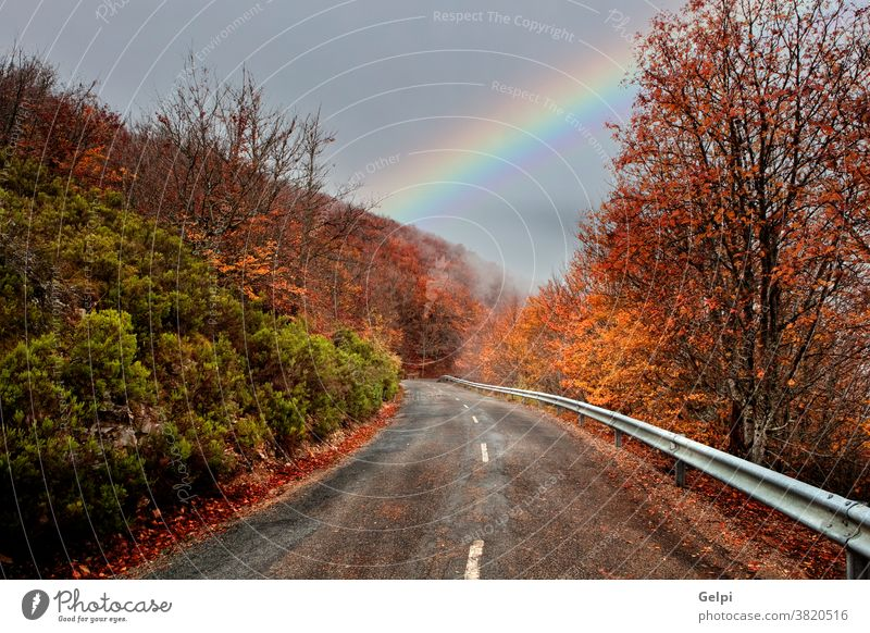 Lonely road with a amazing sky landscape travel red orange rainbow nature scenic scenery outdoor tree route cloudy transportation asphalt destination autumn
