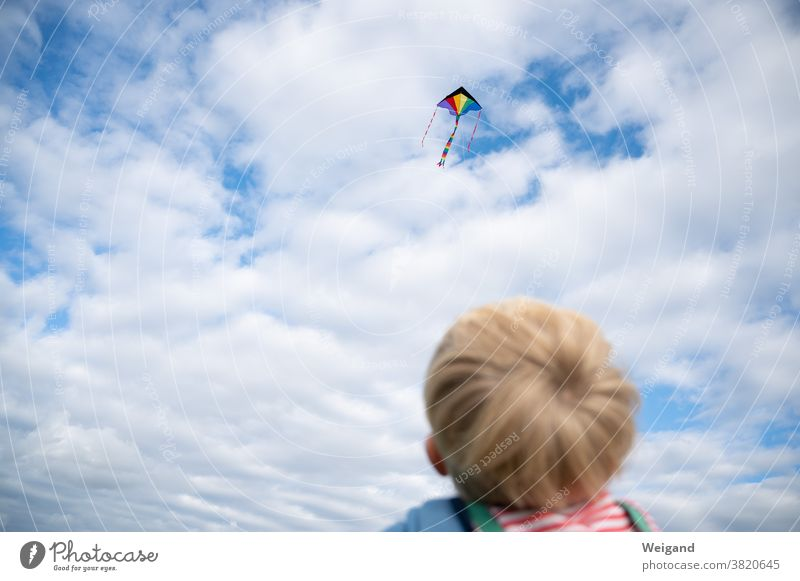 Kite flying with child Child Infancy Family Leisure and hobbies Sky climb the kite Dragon Autumn Wind Spirituality God Grief Dream Joy