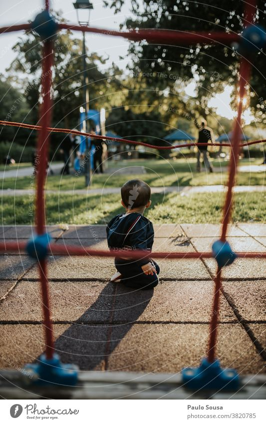 Toddler playing at playground Playing Playground 1 - 3 years Day Leisure and hobbies Happy Child Exterior shot Joy Colour photo Human being Happiness Lifestyle