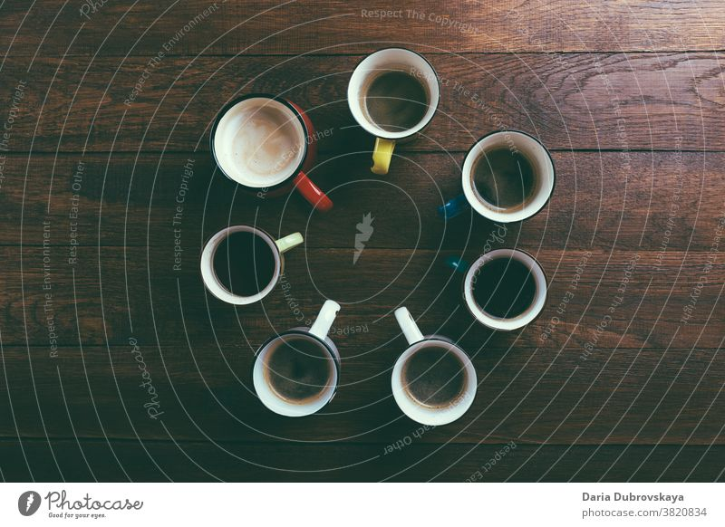 different cups of coffee table beverage breakfast cafe drink brown aroma arabica background morning many black set espresso foam assortment various top view art