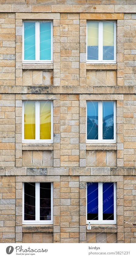 Colourful windows in a house facade made of natural stone, format filling House (Residential Structure) Facade Window colored windows Sandstone sandstone house