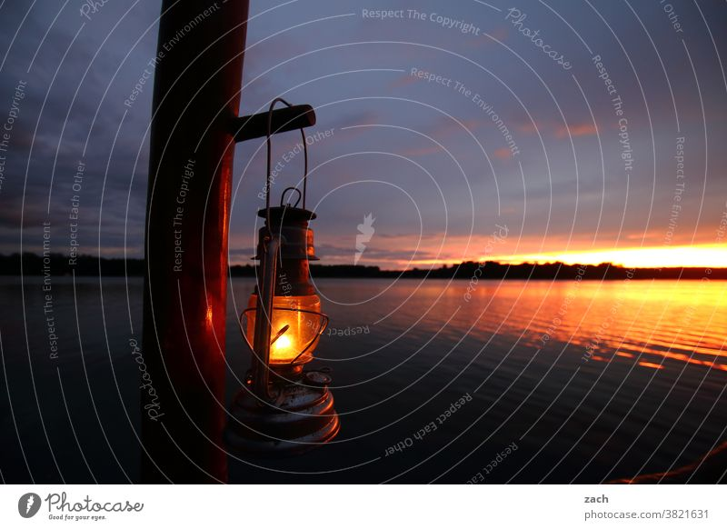 From now on, silence! Night Dusk Evening Sunlight Relaxation Calm Sky Nature Landscape Light Lakeside Blue Clouds boat Boating trip Reflection Sunset Summer