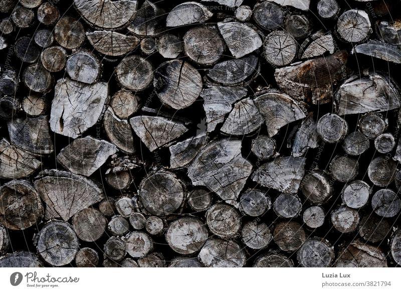 old wood, stacked Wood Firewood Firewood Stack Stack of wood Exterior shot Brown shape cracks bark tight Old