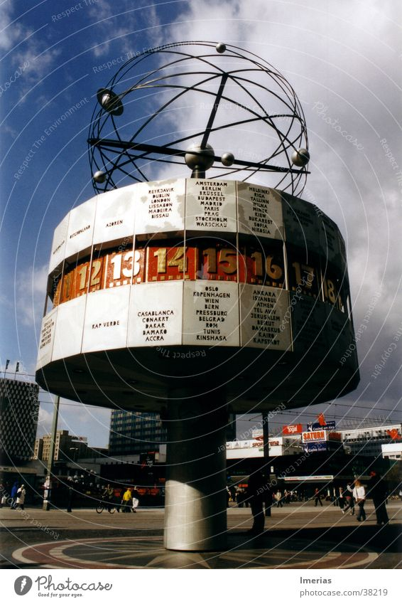Sky Blue Red Summer Clouds Berlin Architecture Gray Gold Places Clock Future Digits and numbers Steel Landmark Globe