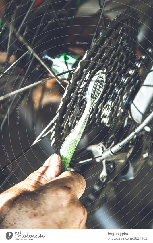 You can see a man's hand brushing the sprockets of a bicycle with a green and white toothbrush Bicycle Cycling pinion Bicycle chain Chain Chain grease Gearwheel