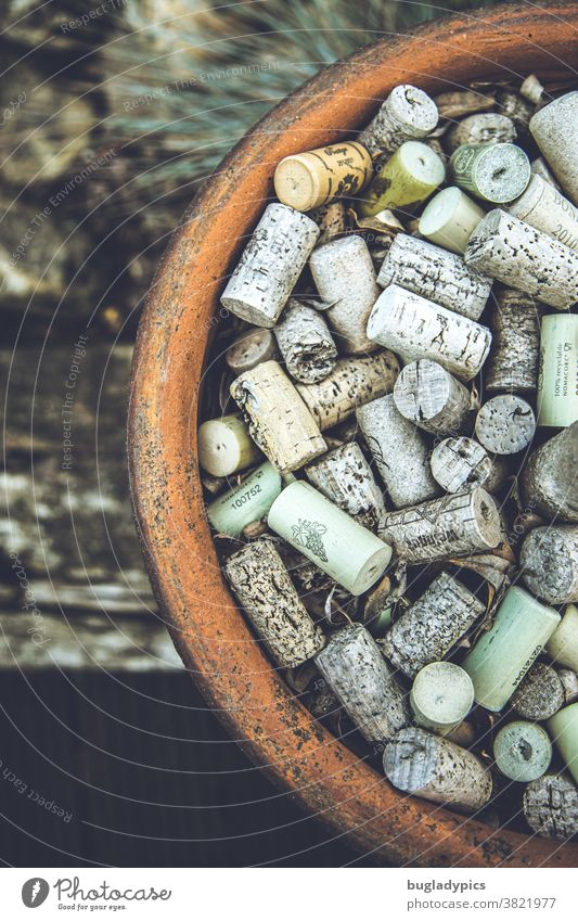 Large clay pot full of wine corks as a reminder of cheerful summer nights. Cork Vine Clay pot Mediterranean Alcoholic drinks Bottle of wine Red wine White wine