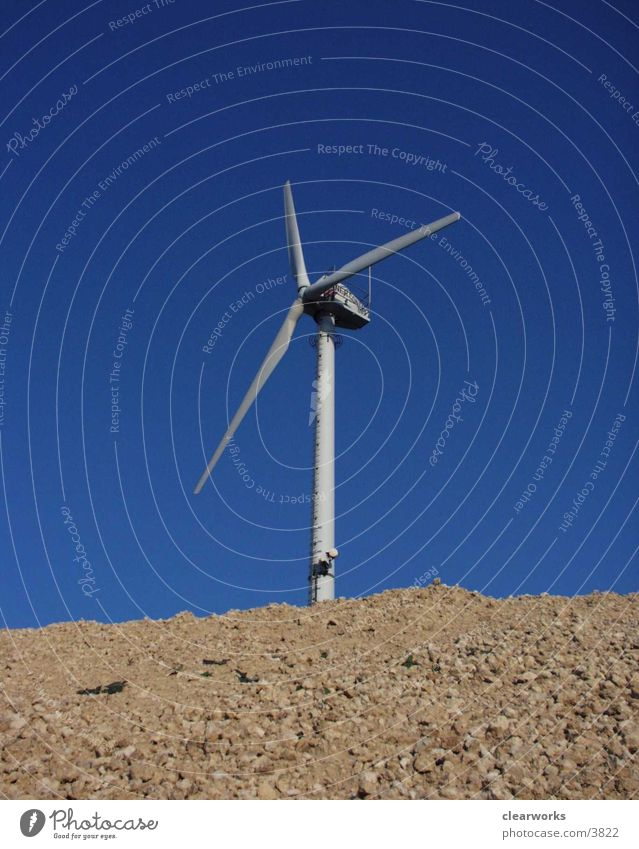 windmill Electrical equipment Technology Nature Blue Sky