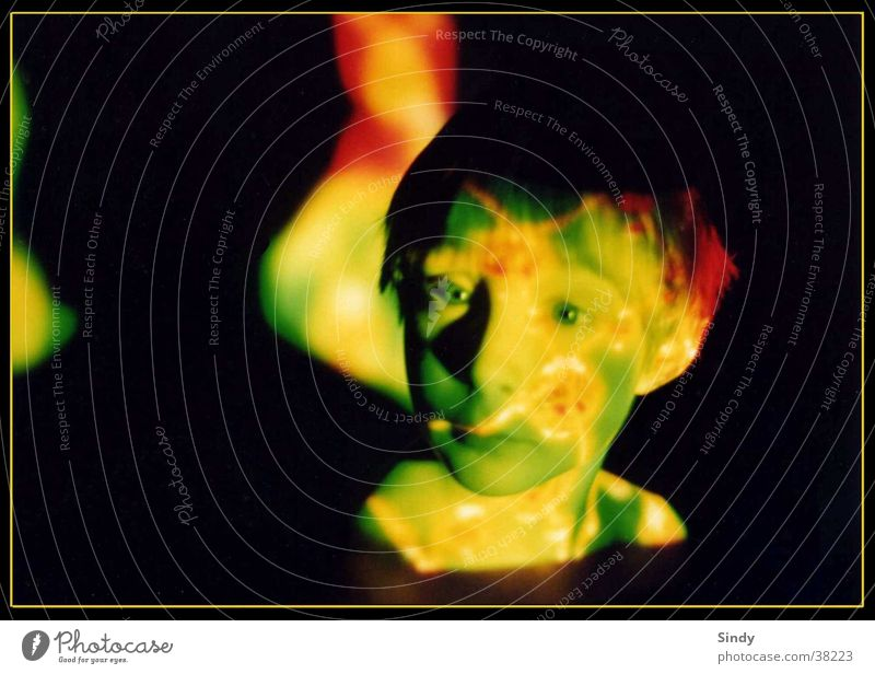 green view Green Pattern Child Black Boy (child) Light Red projection Face structure Circle Eyes Shadow Frame
