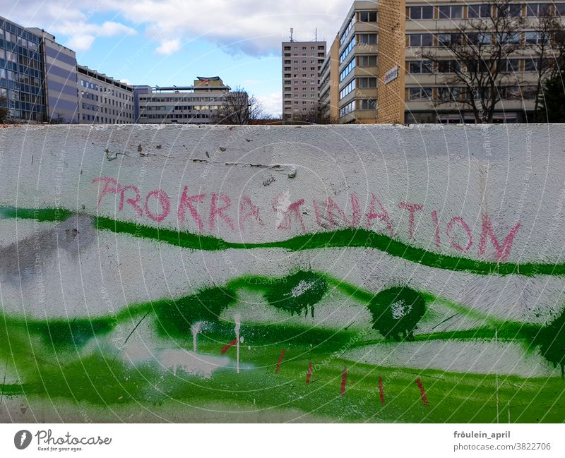 procrastination writing lettering urban Characters Text Letters (alphabet) Word Deserted Typography Colour photo communication Language Communication Graffiti