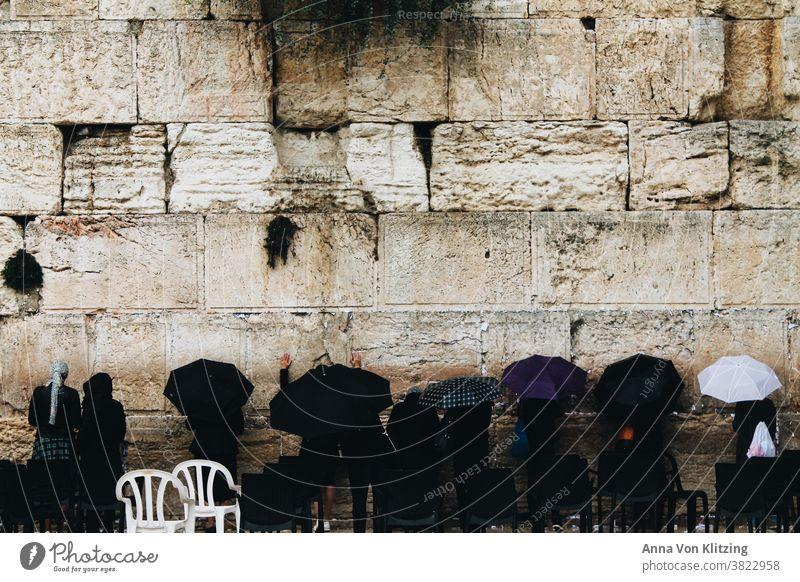 Wailing Wall - Praying Women pray The Wailing wall West Jerusalem Rain Umbrella Wall (barrier) Religion and faith women Israel Judaism Jewish Stone stones