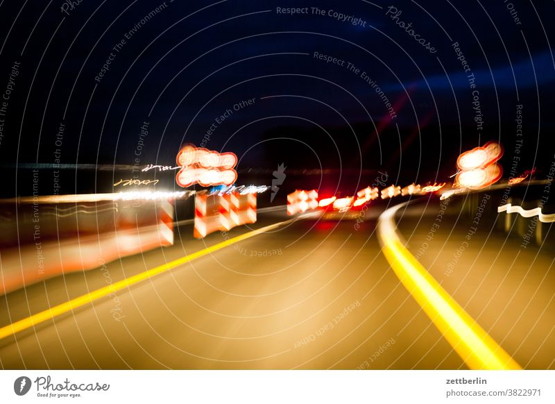 At night on the motorway Evening Night at night Street Federal highway Highway State expressway mark Lane markings sign Road sign Countdown marker