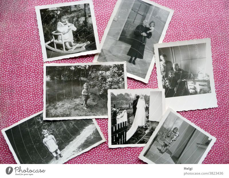 Memories - old black and white photos from childhood lie on a red and white dotted background Human being Child Toddler Schoolchild Mother Woman grandma grandpa