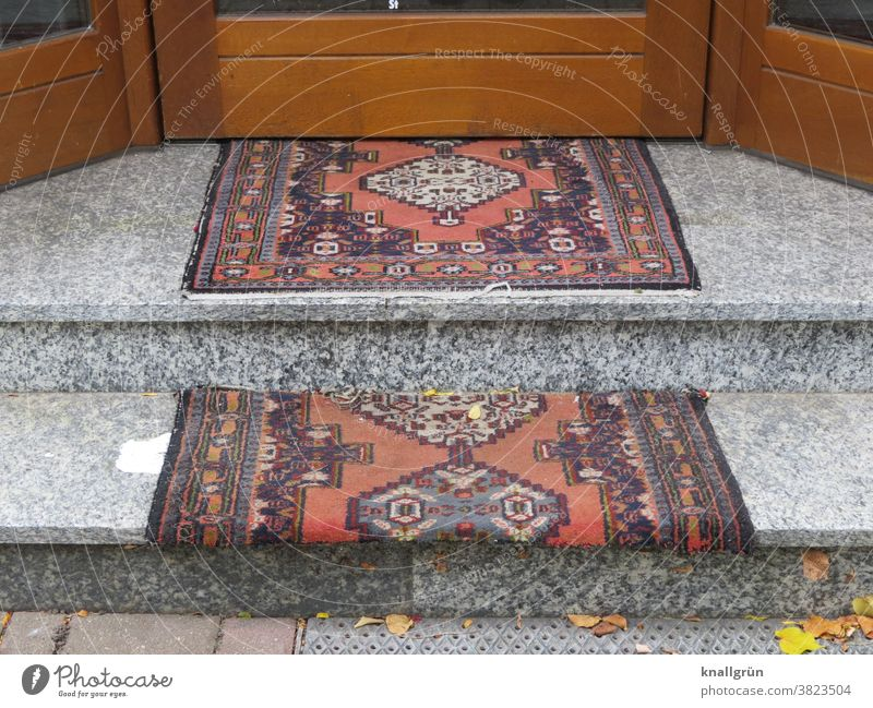 Steps of a shop covered with carpet Store premises Carpet Protection Red carpet Exterior shot Stairs Entrance entrance area stagger Pattern Colour photo Brown
