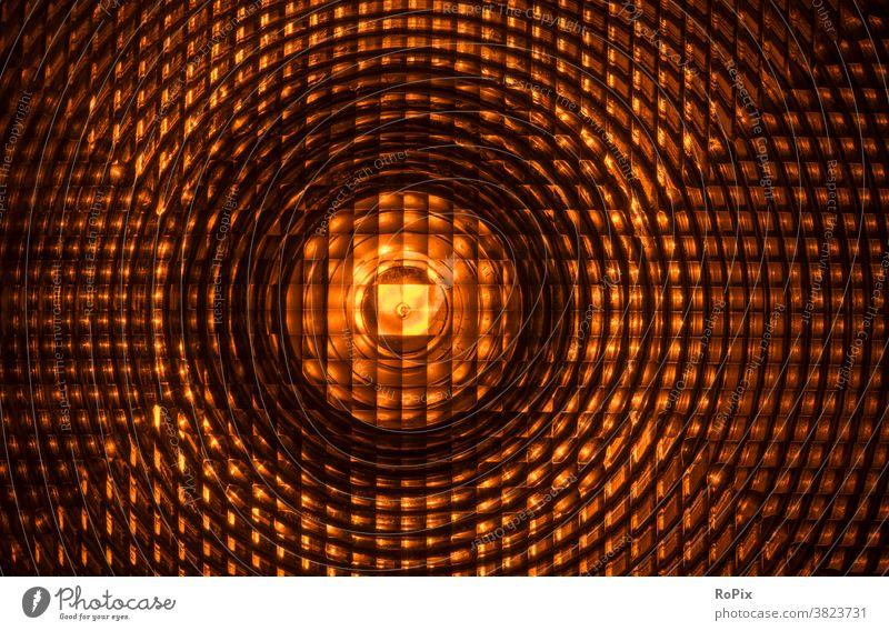 Lens of an illuminated construction site signal lamp. Construction site Transport obstruction of traffic blocking cordon light Warn Warning light Barricade