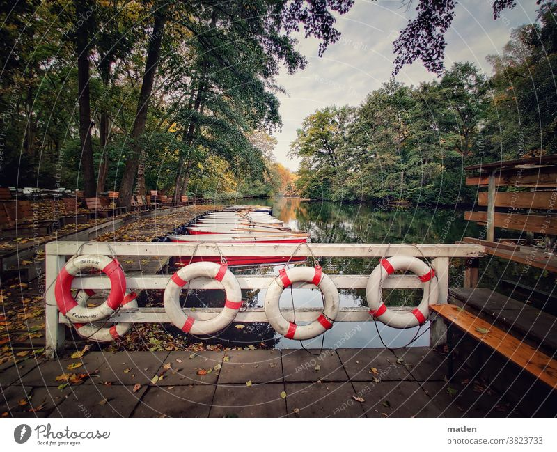 jetty Lifebelts Autumn Berlin New lake Sky trees Deserted Exterior shot Colour photo Lakeside Reflection End of the season mobile Calm Idyll Day Berlin zoo