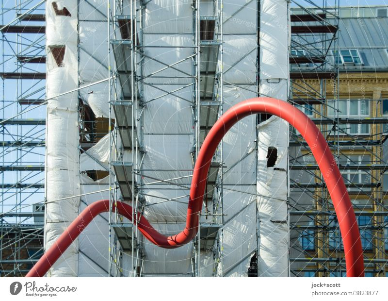just missed update, just got the curve Conduit conduit Construction site scaffold tarpaulin Scaffold Architecture Diversion Scaffolding Facade Connection