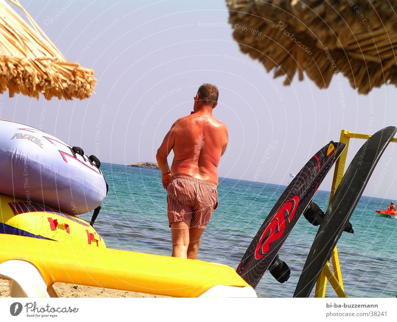 Man Water Ocean Summer Watercraft Back Tourist Swimming trunks Dinghy