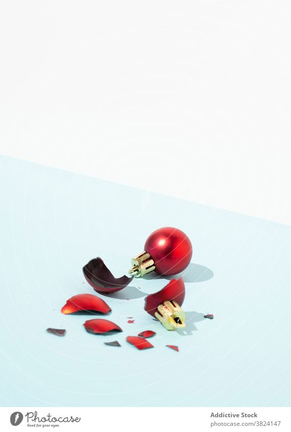 Red Christmas baubles in studio christmas ball broken whole decor ornament toy design decoration holiday bright tradition winter season celebrate composition