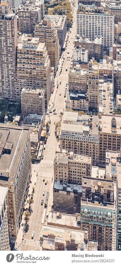 Retro toned aerial view of New York City, US. new york city street manhattan building retro filtered urban vintage city life USA roof high above NYC