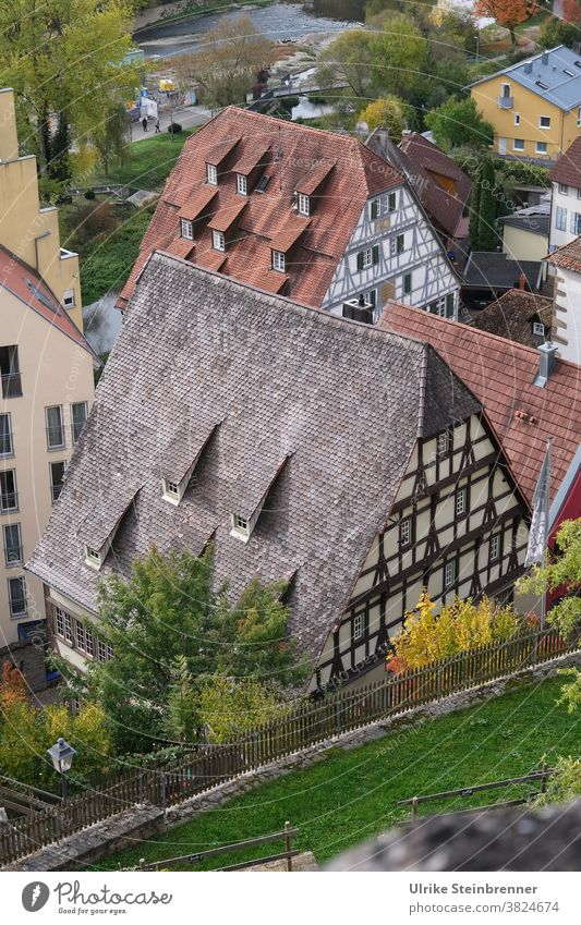 Half-timbered houses in Horb am Neckar half-timbered Old town History of the city history Historic Architecture Medieval times Town Roof dormers