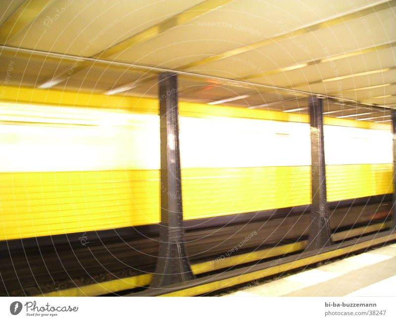 Berlin Underground Railroad Speed Light Yellow Transport Train station Bright