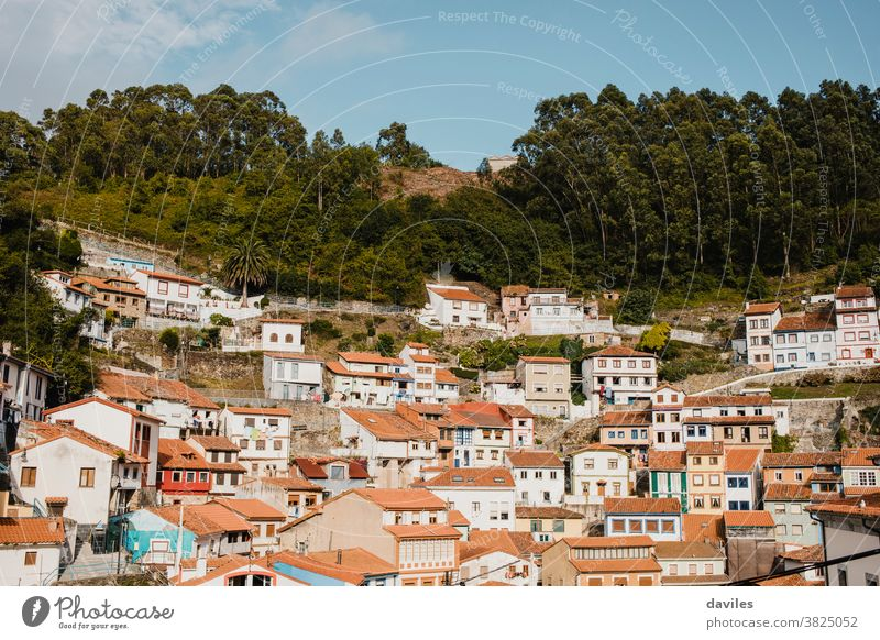 Cityscape of Cudillero village, in the north of Spain. Cudillero is a charming village in Asturias, placed on a hill of the Atlantic coastline, with picturesque architecture and touristic restaurants and corners