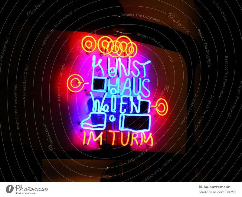 art house Vienna Neon sign Neon light Art Long exposure hundred water