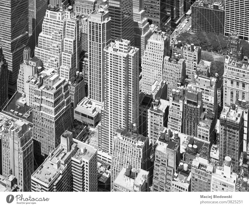 Black and white aerial picture of Manhattan, New York City, US. city new york office black and white skyscraper manhattan building cityscape urban USA roof high