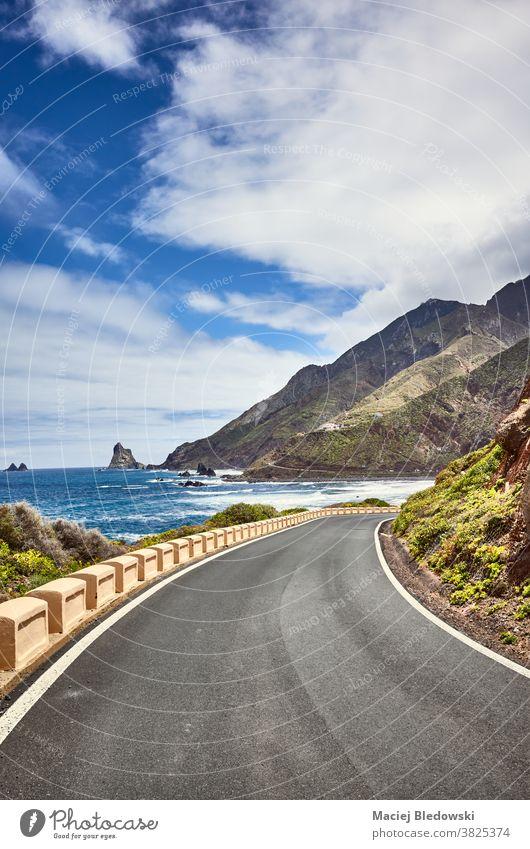 Scenic ocean drive road at the Macizo de Anaga mountain range, Tenerife, Spain. journey travel vacation scenic scenery Atlantic Ocean sea Canary Islands tourism