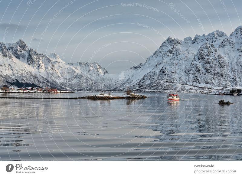 Fishing boat entering Sildpolltjonna bay from the east. Austnesfjorden-Austvagoya-Nordland-Norway. 0166 fishing boat commercial fishing steel boat watercraft