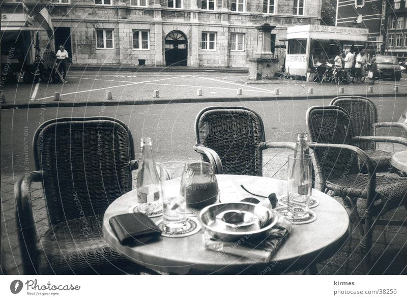 Water Street Europe Café Netherlands Black & white photo Old town Sidewalk café