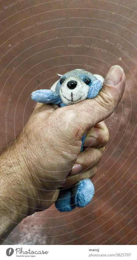 When I choked that dirty little blue stuffed bear, he didn't say anything Force Hand Pushing loveless uncharitably Human being Anger Hatred Aggression
