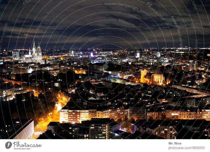 Bird's eye view of Cologne in the evening Cologne Cathedral Tourist Attraction Landmark Skyline Town Panorama (View) Night Clouds Night sky Dome Downtown