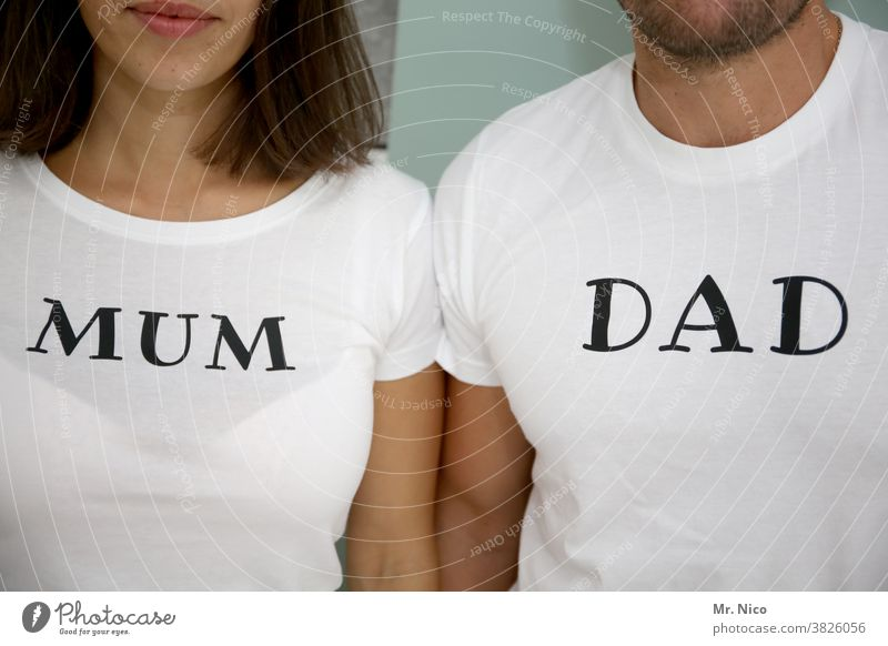 Mum and Dad T-shirt mum dad Mother Father Parents Adults Family & Relations Together White Upper body Mouth Arm Love Characters Side by side Couple Relationship