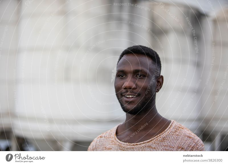 Portrait of Handsome Man Looking Away portrait man face smile black toothy smile African ethnicity looking away genuine side view one person one man only