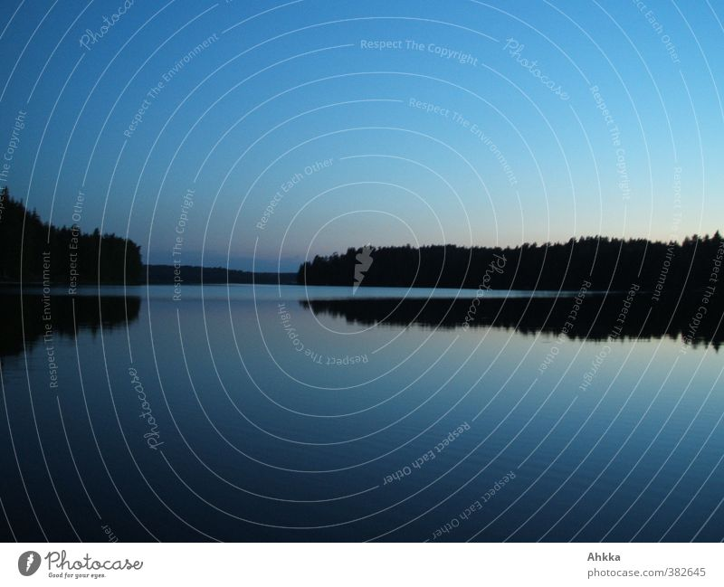 Night shot of a windless lake in Finland Adventure Far-off places Nature Landscape Water Cloudless sky Coast Lake Breathe Think To enjoy Infinity Moody Calm