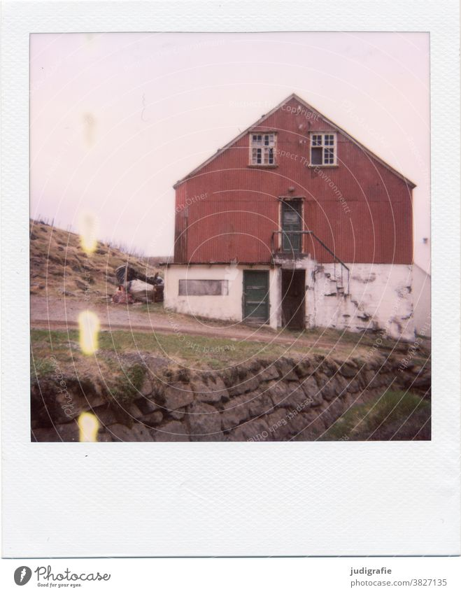 Icelandic house on Polaroid House (Residential Structure) Hut Window Stairs door dwell Colour photo Exterior shot Deserted Building Wall (building) Architecture