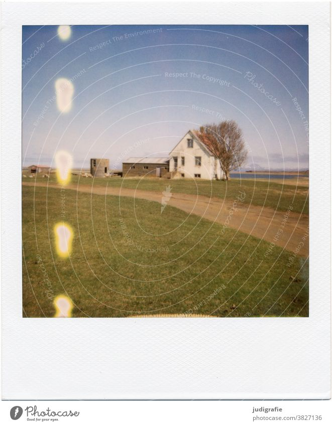 Icelandic house on Polaroid House (Residential Structure) door dwell Colour photo Exterior shot Deserted Building Wall (building) Architecture