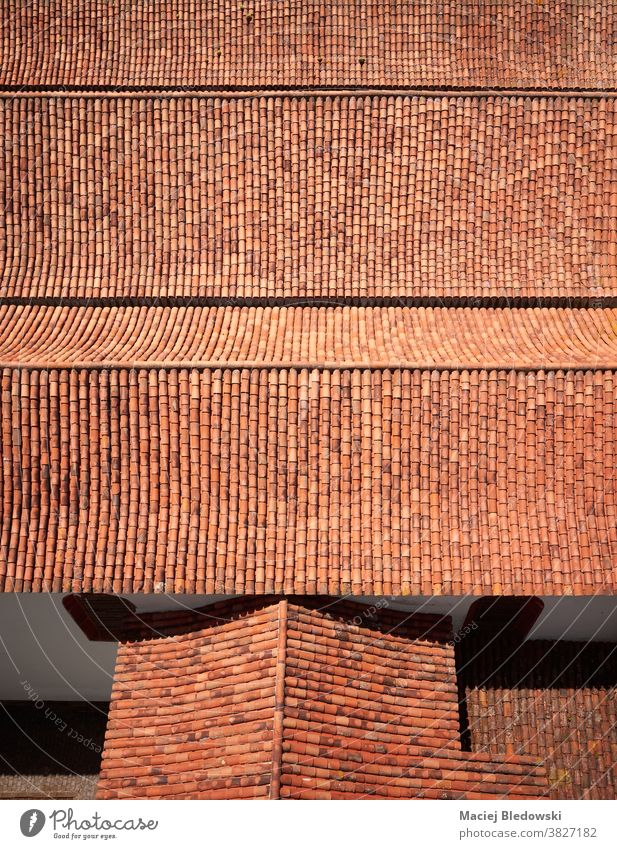 Picture of an old clay tile roof from above. pattern house red building architecture Spain Tenerife aerial outdoors ancient exterior photo