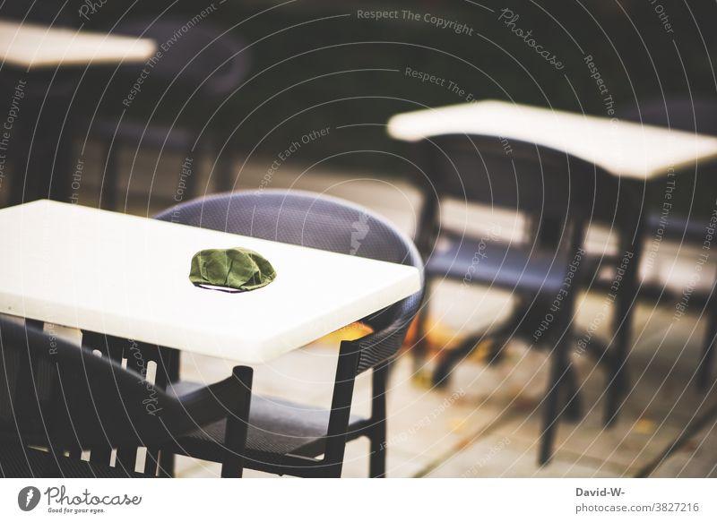 Gastronomy and Corona corona Closed Mask obligation Respirator mask tables Empty pandemic lockdown