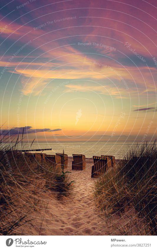 Evening at the beach Beach Beach dune Beach chair Baltic Sea Baltic coast Sand Vacation & Travel Ocean Relaxation Sky Tourism Landscape Summer Idyll Romance