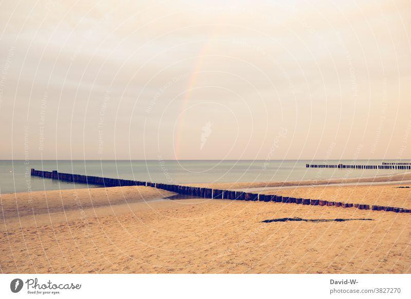 a rainbow by the sea Rainbow North Sea coast Beach Vacation & Travel Water Sky Island Ocean beautifully