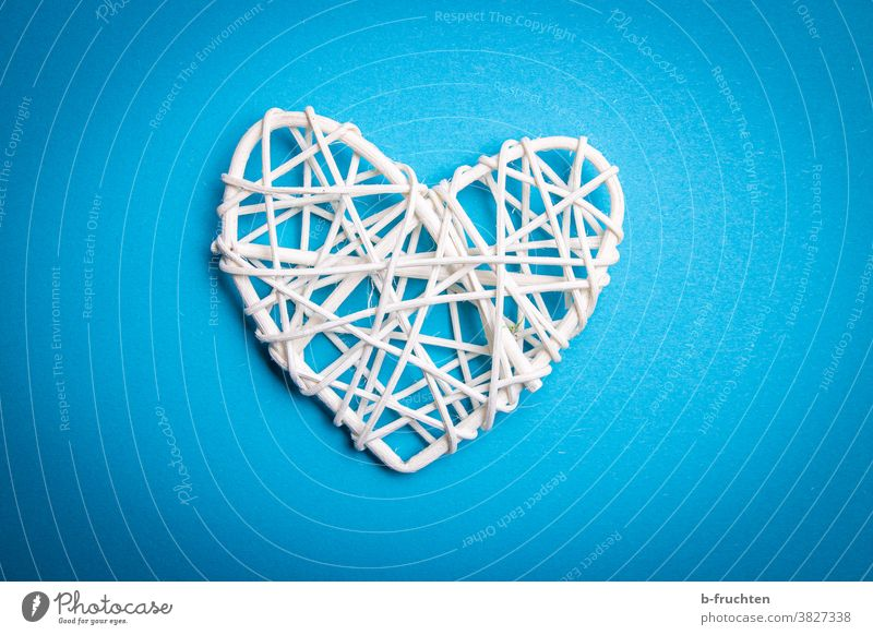 white rattan decoration heart with blue background Heart Decoration White Valentine's Day Design Bird's-eye view Symbols and metaphors Love