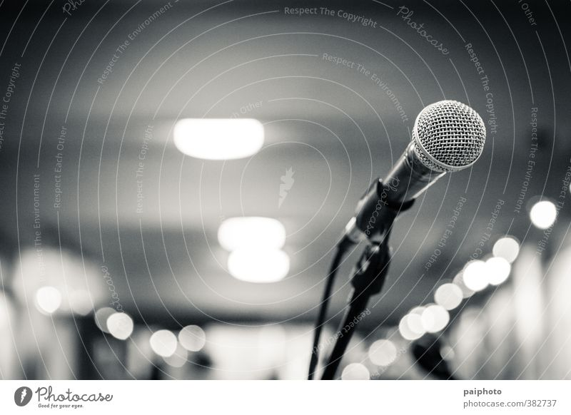 microphone isolated Concert Empty Hall Microphone Microphone lead Loneliness Black & white photo Festival gig Gray mike Music Presentation scenario Sing Stage