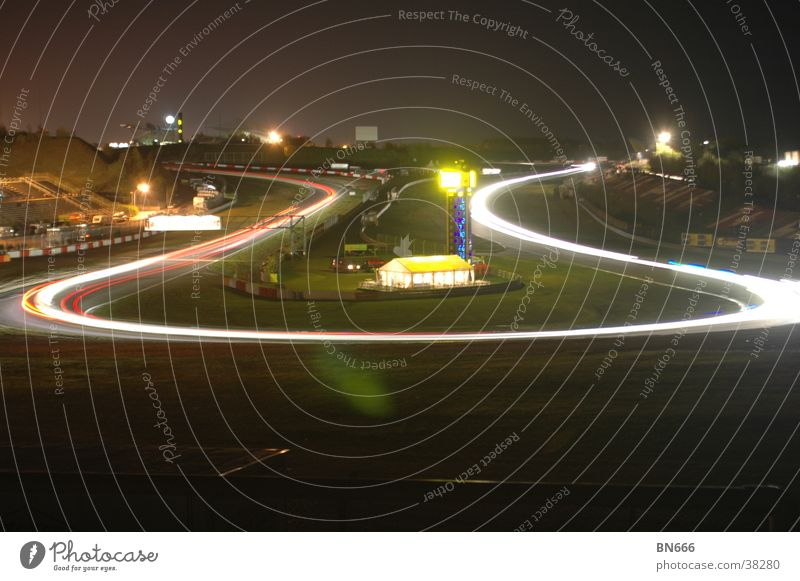 33rd ADAC Zurich 24 hours race Nürburgring Night Long exposure Automobile breakdown service Motorsports 24h hairpin bend Circle Turnaround