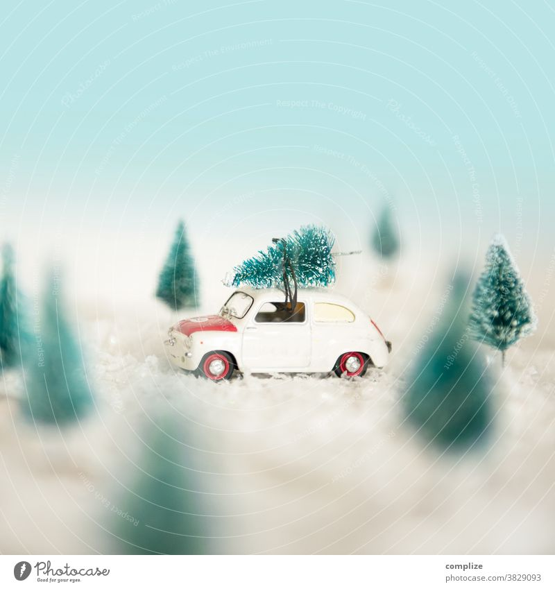 Driving Home with Christmas Tree Vintage car Christmas tree Forest Snowfall New Year's Eve Shopping Lifestyle Nature Beautiful Creativity Transport Landscape