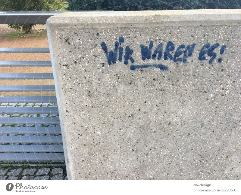WE WERE! Graffiti Daub Concrete wall Blue Characters Wall (building) Wall (barrier) Exterior shot Deserted Day Word Text Letters (alphabet) Facade Street art